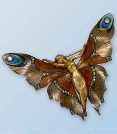 Art Nouveau gold, enamel and diamond brooch by Lucien Gaillard. #DiamondBrooches