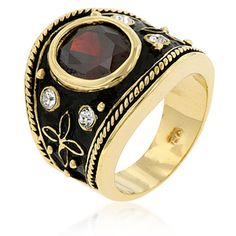 Indian Luster Red Garnet CZ Ring 14k Gold Plated SZ 6 Retired Style #Unbranded #Cocktail