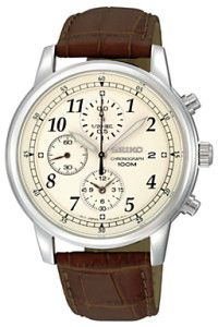 Seiko SNDC31P1 Men's Chronograph Leather Strap Watch