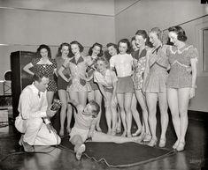 "Radio Days: 1938 Washington, D.C., circa 1938. ""Dancing class, WRC studio."" Smile for the microphone, girls. Harris & Ewing Collection glass negative."