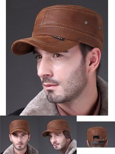 d75129ff HL019 genuine realleather baseball cap/hat men's brand new style Russian  spring autumn warm army caps/hats with earflap-in Baseball Caps from Men's  Clothing ...
