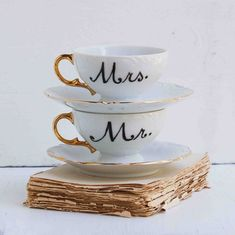 Mr. and Mrs. Hand Painted Vintage White China  Bride & Groom Breakfast wedding gift