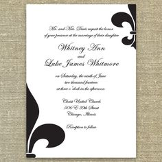 Fleur De Lis Wedding Invitations Sample