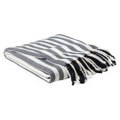 "Nate Berkus™ Black and White Striped Tassel Throw - 50x60"""