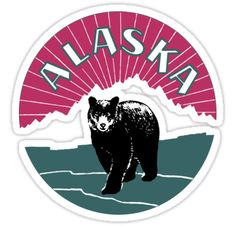 Retro Alaska travel ad, bear by aapshop