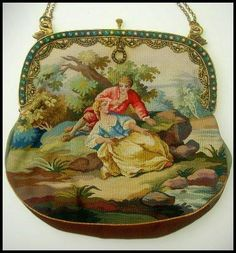 Pristine Figural Scenic Tapestry Purse Jeweled Frame