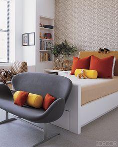 Modern apartment design - Lisa Pomerantz of Botega Veneta | Child's room with pops of yellow and red