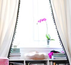 DIY  Curtains with tassels+office window nook +bench bookshelf by ...love Maegan, via Flickr