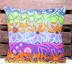#Peruvian full colored #pillow #kaniarts #ayacucho #peru #handmade #crafts #embroidery