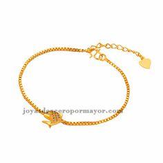 brazalete de cristal pescado dorado en acero inoxidable-BRBTG90117