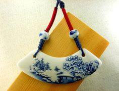 Ceramic pendant necklace jewelry Porcelain by dermusensohn2000, $14.99
