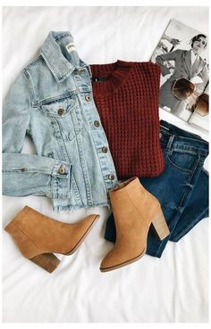 Outfit Jeans, Bootfahren Outfit, Jean Jacket Outfits, Denim Outfits, Loafers Outfit, Vest Outfits, Sweater Outfits, Winter Outfits For Teen Girls, Casual Winter Outfits