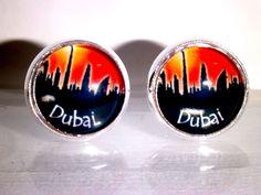 Ohrstecker Skyline Dubai Damen Ohrringe Ohrschmuck Modeschmuck Glas Cabochon