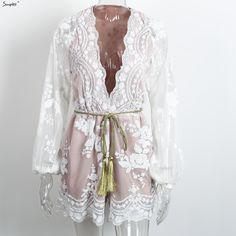 Simplee Autumn Gold sequin embroidery elegant jumpsuit romper Transparent mesh sleeve playsuit women Deep v neck overalls