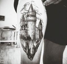 Floating castle tattoo