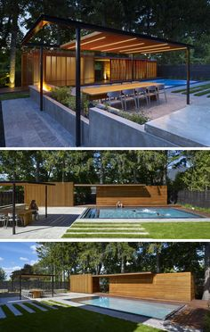 Slats of Douglas Fir have been used to shield the interiors of this modern pool house. Beside the pool house is a steel and wood trellis, that shelters the dining area.