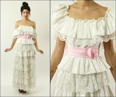 Vintage 70's Wedding bridal lace floral prom party by Powdervtg, $84.00