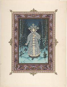 "Boris Zvorykin (Russian, 1872–1942). Illustration for ""Snegurochka"" [Snegurochka in the forest], ca. 1925. The Metropolitan Museum of Art, New York. Gift of Thomas H. Guinzburg, The Viking Press, 1979 (1979.537.15)"