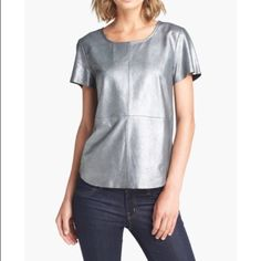 Silver Trouve Leather Panel Tee Silver leather front with gray viscose/lycra jersey knit back.  Almost new. EUC Trouve Tops Tees - Short Sleeve