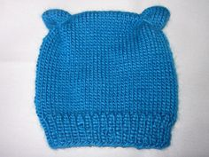 Baby Knitted Hat, Baby Beanie, Toddler, Handknit, Toque, Newborn - 1 year olds, Brilliant Blue,Teddy Bear by MyLittleOldSister on Etsy https://www.etsy.com/listing/162056668/baby-knitted-hat-baby-beanie-toddler
