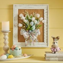 Framed Easter Bouquet Adult Crafts, Diy Home Crafts, Square Wreath, Project Steps, Making A Bouquet, Spring Painting, White Tulips, Diy Easter Decorations, Dollar Tree Crafts