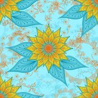 Love the burst of bright, warm #gold bloos pops on the cool #turquoise background #color