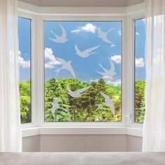 Frosted Bird Window Stickers  Flying Birds Privacy Glass image 0 Window Stickers Privacy, Window Decals, Wall Stickers Silver, Vinyl Wall Stickers, Ikea Picture Ledge, Stick On Mirror, Tree Decals, Paint Types, Smooth Walls