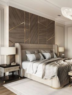 An amazing and mesmerizing design by Domoff Interirors! #designinspiration #designideas #interiordesign #interiorinspirations #designgoals #bedroom #bed #nightstand #tablelampe #chandelier #bench #pillow Modern Classic Bedroom, Bedroom Bed, Nightstand, Bench, Chandelier, Design Inspiration, Interiors, Contemporary, Pillows
