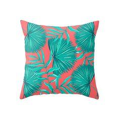 Green & Pink Tropical Print  - Accent Pillow Cover - Throw Pillows - Decorative Pillows