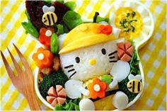 """What is a Bento lunch you ask? Well according to Wikipedia ."""" Bento (弁当, is a single-portion takeout or home-packed meal co. Arte Do Sushi, L'art Du Sushi, Sushi Art, Cute Food, Yummy Food, Awesome Food, Hello Kitty, Hello Hello, Kitty Kitty"""