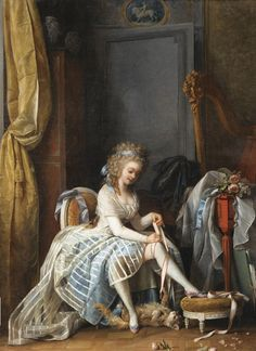 Lady putting on her stockings, ca. 1780