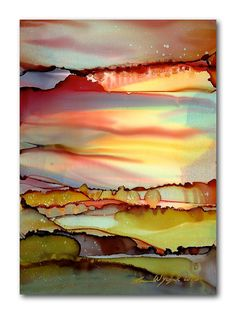 """Items similar to Alcohol Ink Landscape Print / Abstract Art by Karen Wysopal / """"Cranberry Sunset"""" Purple Burgundy Red, Green on Etsy Alcohol Ink Crafts, Alcohol Ink Painting, Alcohol Ink Art, Landscape Prints, Landscape Art, Abstract Watercolor, Abstract Art, Art Painting Gallery, Art Paintings"""