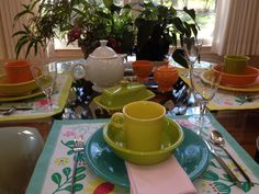 Spring table setting with fiesta dinnerware