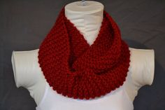 Red Knitted Infinity Scarf by KnotsandBowsBoutique on Etsy, $15.00