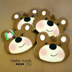 Bear Cookies, Cute Cookies, Woodland Theme, Cookie Designs, Cookie Decorating, Decorating Ideas, Decorated Cookies, Cake Pops, Icing