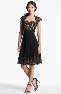 Tadashi Shoji Mixed Media Fit & Flare Dress available at #Nordstrom--- Very flattering and stylish silhouette! $348 to be worn with a side part in hair and soft waves:)