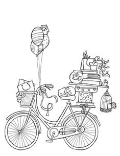 "I was asked to draw an illustration + a map for the move of ""il gufo"" kidswear flagship store in Milan.The brief required for a ""naive"" bicycle heavy loaded with fancy stuff + an hand drawn map -naive as well- to show both the old and the new location of… Coloring Book Pages, Printable Coloring Pages, Coloring Sheets, Digi Stamps, Free Coloring, Embroidery Patterns, Sketches, Drawings, Prints"