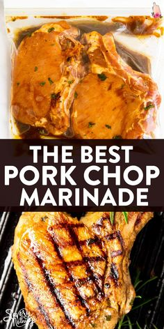 This is the best easy pork chop marinade recipe! It's great for pork chops on the grill, but you can make them on the stove in a grill pan, too. Simple ingredients, pantry staples, and only 5 minutes of prep time! #porkchop #marinade #easyrecipes #summerrecipes #grilling #bbq