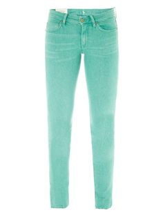 These jade-green washed-denim jeans have a low-rise and a skinny-leg with a top button and zipped front fastening.