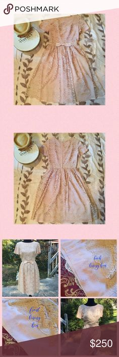 """VINTAGE 1950's L'AIGLON DRESS This pale pink L'AIGLON vintage dress from the 1950's is EXQUISITE!! It has been perfectly preserved and freshly dry-cleaned.  The lace overlay is 100% perfect!!   The only flaw in this 60+ year old dress is some minor discolored spots on the lining near the hem (see photo) but is not visible with the lace overlay. I LOVE how FEMININE this dress is!!  It is very fitted with no stretch.  W-26"""",  L-41"""" and armpit to armpit when flat is 18"""".  This dress is elegant…"""