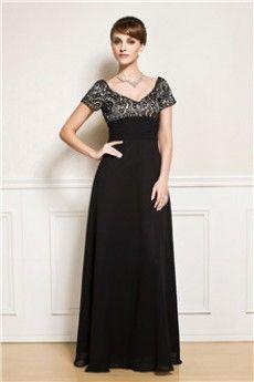 Empire A-Line/Princess V-neck Floor-length Chiffon Mother of the Bride Dress