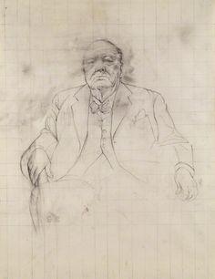 Graham Sutherland, Winston Churchill, matita e acquerello, 1954 cm 57x440. © National Portrait Gallery, London.