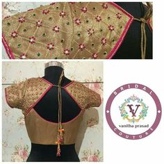 Ever favorite French knots. Saree Blouse Neck Designs, Saree Blouse Patterns, Dress Neck Designs, Kurta Designs, Patch Work Blouse Designs, Maggam Work Designs, Fancy Blouse Designs, South Indian Blouse Designs, Mirror Work Blouse