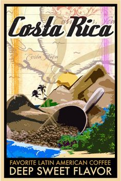 costa rica travel poster Costa Rica Coffee Poster On Air Design - Graphic Design and Printing . Costa Rica Art, Costa Rica Travel, Costa Rica Coffee, Coffee Poster, Vintage Travel Posters, Travel Deals, Illustrations, Poster On, Viajes