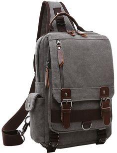 075fea7833 Canvas Cross Body Messenger Bag Shoulder Sling Backpack Travel Rucksack -  Gray - CO12N5QHBIA