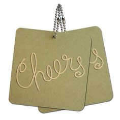 Cheers Handwritten Wood MDF 4' x 4' Mini Signs Gift Tags -- Read more  at the image link.