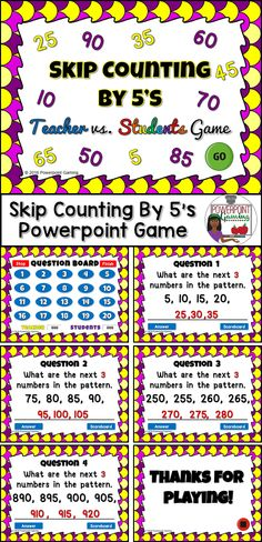Engage 2nd grade students with this fun, interactive math game. In this teacher vs student powerpoint game, students practice skip counting by 5's. Students are given 4 numbers and they must determine the next 3 numbers. Starting number ranges from 0 to 1000. Great for a guided math center or rainy day activity.