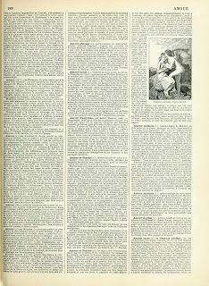 """Vintage Ephemera: French Dictionary Page; """"Amour"""" (Love), 1898"""