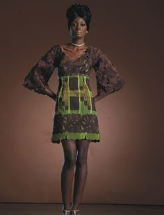"""Chocolate brown and green dress - this piece is made out of """" Lasque""""  an original hand made fabric from silk thread"""