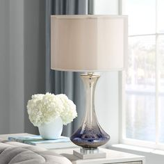 Dinorah Blue Mercury Glass Table Lamp - #7Y702 | Lamps Plus Side Table Lamps, Metal Table Lamps, Glass Table, Blue Headboard, Marble Lamp, Lucite Table, Contemporary Table Lamps, Antique Lamps, Mercury Glass